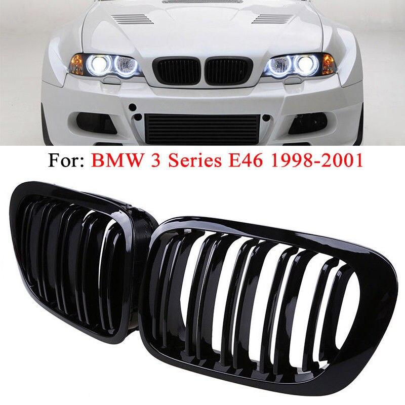 1 paire de Grilles avant de voiture de haute qualité 2 portes 2D Coupe noir brillant double latte rein Grille couverture pour 98-01 BMW E46