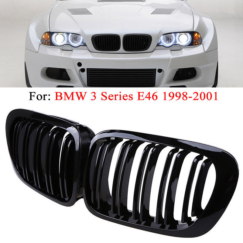 1 pairs High quality Car Front Grilles 2 Door 2D Coupe Gloss Black Dual Slat Kidney Grille Cover for 98-01 BMW E46