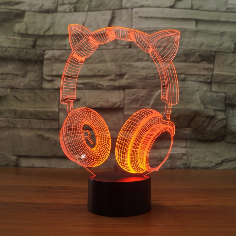 3D Lovely Cat Ear Headset Night Light LED USB Cartoon Desk Table Lamp Bedroom 7 Color Changing Atmosphere Light Fixture Decor lovely stitch night light cartoon