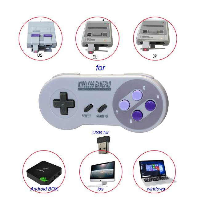 US $8 29 |Wireless Controller Joystick For Nintendo Mini Snes Wirelss  Gamepad For Android Smart TV Android Set top For Windows PC For IOS-in  Gamepads