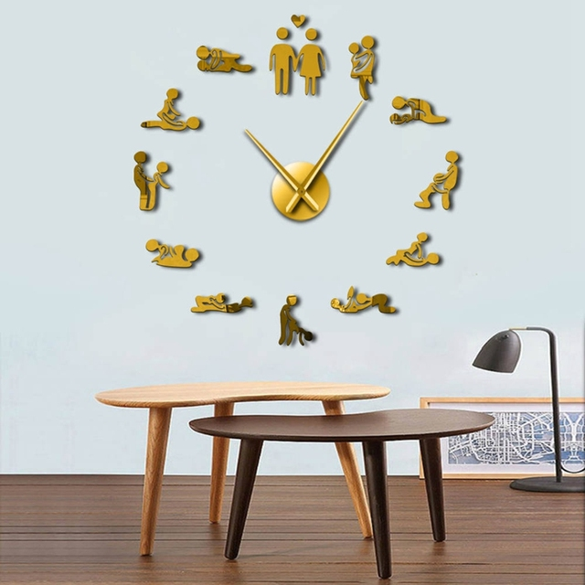 Horloge murale muette de Position de sexe | Horloge 3D, grand horloge en acrylique, décoration de chambre dadulte, jeu simple, à assembler
