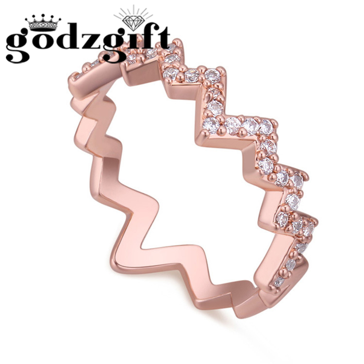 Godzgift Women Wave Pattern Dating Finger Rings Lady Date Nail Ring Modern Crystal Jewelry Gift Fashion Romantic Ornament JR5028