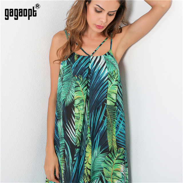 Gagaopt 2017 Summer Dresses Loose Casual Print Flowers Sleeveless Mini Dress Robes Elegant Streetwear Lady Vestidos D2253Z