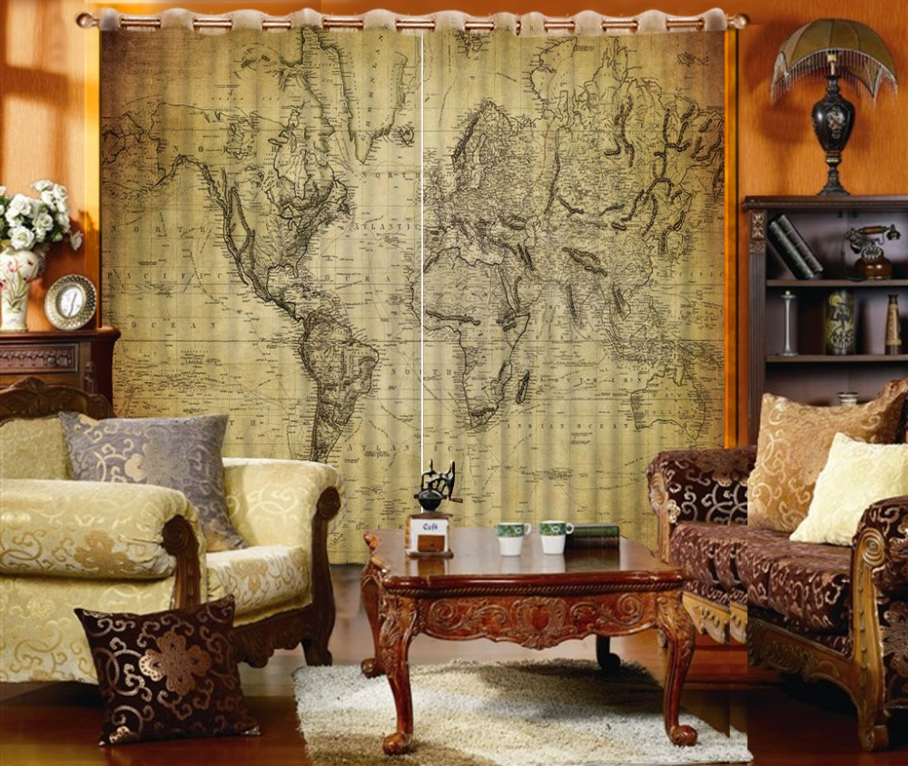 modern classic luxury 3d blackout curtain fashion world map for bedroom living room dedroom drapes cotinas