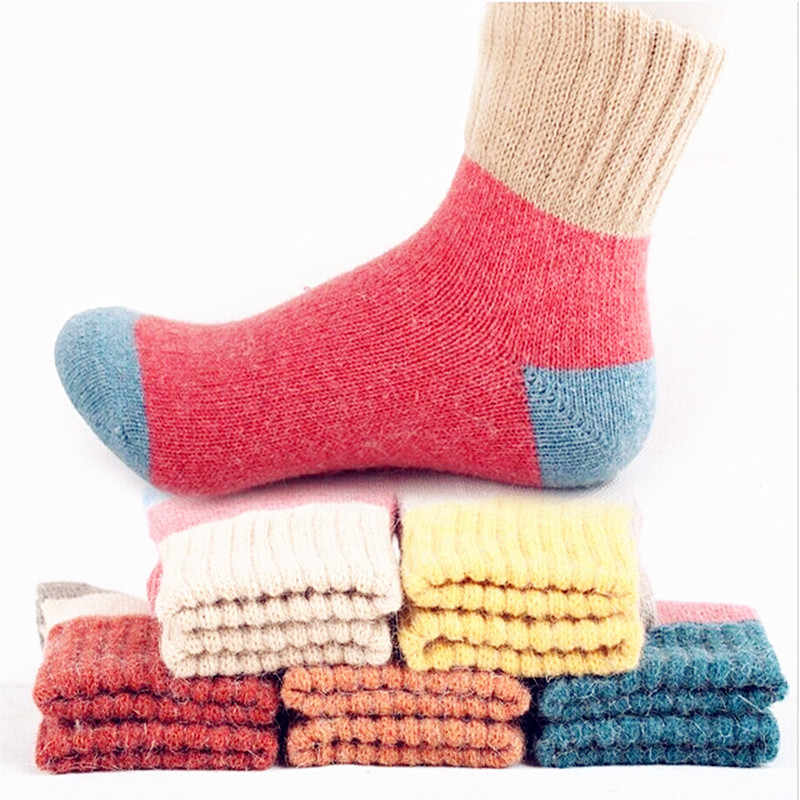 5pairs Winter Extremely Cozy Cashmere Wool Socks Women Casual Bed Socks Fluffy Warm Winter Socks Soft Floor Home Sock