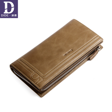 DIDE Card holder Wallet Long Design Mens Phone Bag Clutch Purse Wallet Genuine Leather Wallets For Men Coin Zipper Male Wallets