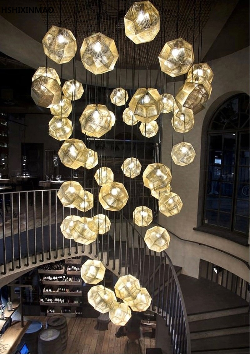 Creative light and shadow multi faceted stainless steel ball creative light and shadow multi faceted stainless steel ball chandelier restaurant bar bar tennis round metal chandelier decorat in chandeliers from lights arubaitofo Gallery