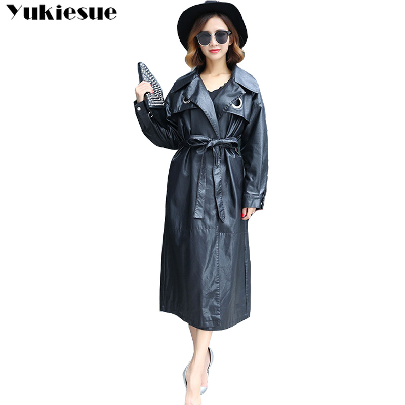 Women Elegant Pu Single-Button Waistband Long   Leather   Jacket woman Fashion Lady Overcoat Plus size women's   Leather   Jacket Female
