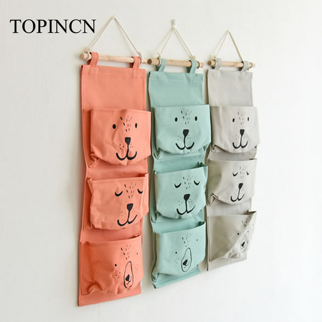 3 Pocket Storage Hanging Bag Holder Wall Mounted Door Pouch Bedroom  Bathroom Organizer Orange Folding Handbag