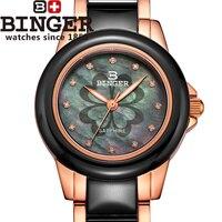 Switzerland Binger ceramic Women's watches fashion watch Women quartz Ceramic clock Round rhinestone Wristwatches B 1120L 2