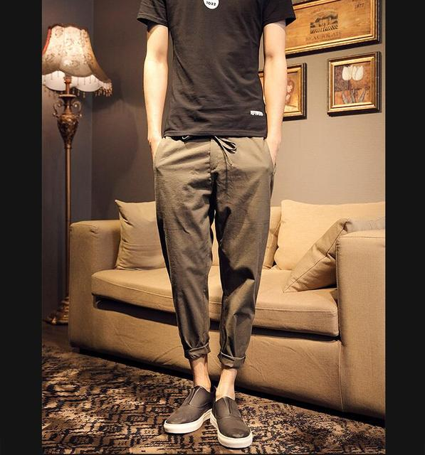 2017 new brand high quality summer linen mens joggers loose pants Casual thin straight trouser pants for men M-XXL