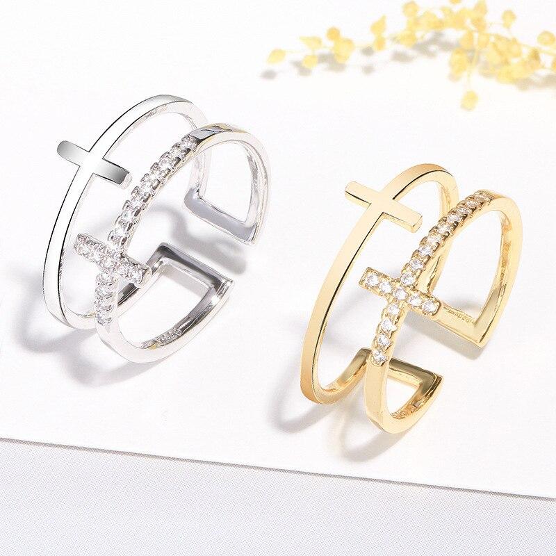 2021 korean style  Tibetan sliver double cross finger rings gold wide big jesus christianity zircon custom engagement rings 1