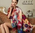 2016 женщин шелковый шарф цветок печати леди круп длинные 100% шелк пятно шарф марка зимы женщин шелковые платки обертывания ткани пашмины