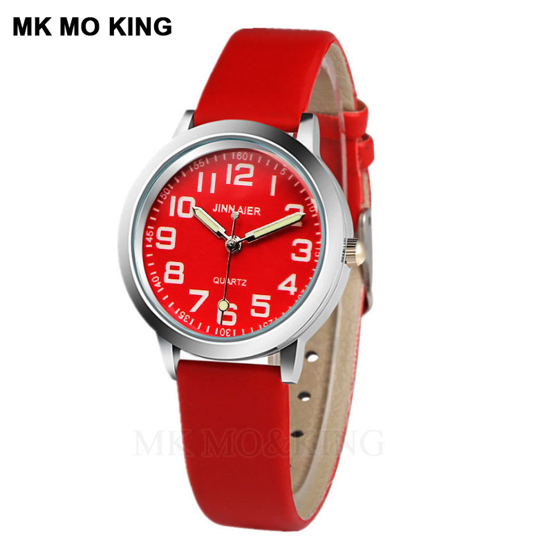 Watches Confident New Watch Women Kids Children Girls Ladies Quartz Red Dial Wristwatches Simple Number Watches Montre Relogio Kol Saati Clock Hot