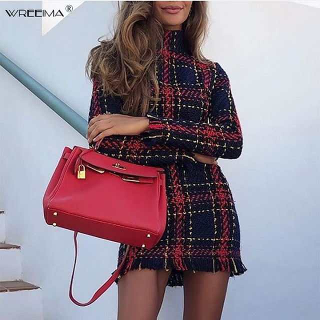 Elegant dress plaid tweed women dress winter Office lady Turtleneck warm Sheath Party dress Vintage sexy autumn dresses festa