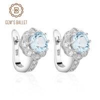 Gem's Ballet Natuurlijke Sky Blue Topaz Edelsteen Oorbellen Echt 925 Sterling Zilver Voor Vrouwen Gorgeous Fijne Sieraden
