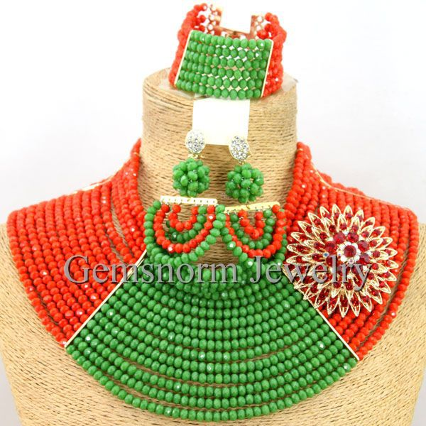 New Chunky Nigerian Beaded Crystal Jewelry Set African Costume Necklace Set Gift Jewelry Set Free Shipping WB313New Chunky Nigerian Beaded Crystal Jewelry Set African Costume Necklace Set Gift Jewelry Set Free Shipping WB313