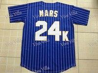 Customize Personalization Baseball Jersey Bruno Mars 24K Hooligans BET Awards Stitched Blue Black White Baseball Jersey