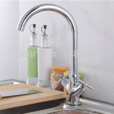 Free shipping 360 degree rorating copper kitchen faucet double handle kitchen sink mixer tap faucet Torneira