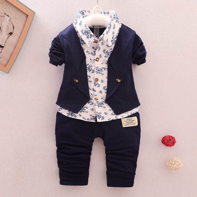 33ad716dc6501 Aliexpress.com : Buy spring autumn baby boys clothing set fashion cotton  2pcs floral formal suit sports set for little boys infant children clothes  ...