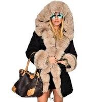 Winter Women's Jacket Long Style Hooded Fur Female Coat Snow Wear Plus Size Women Cotton Coat Patchwork Fur Ladies Parkas