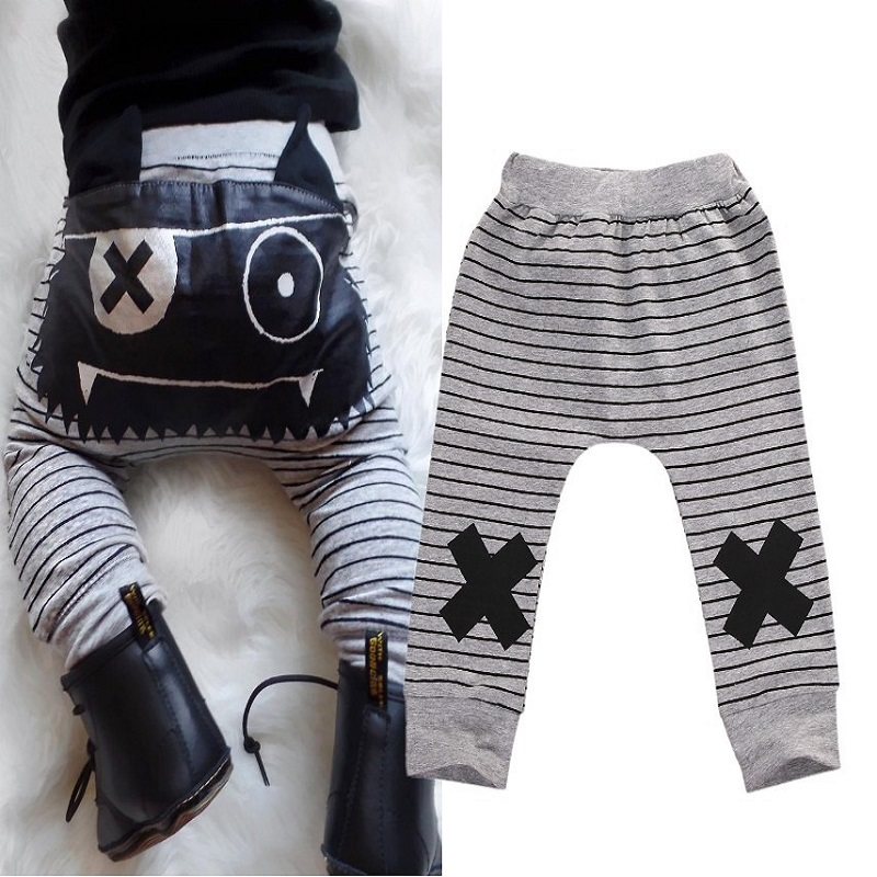 0-24M Baby Newborn Infant Baby Boys Girls Stripe Monster Bottoms Harem Pants Legging Trousers Cotton Trousers Slacks