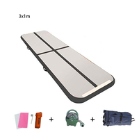 Inflatable Airtrack 0.9mm High Density Drop Stitch Pvc 2700gsm Gymnastic Martial Arts Black Tumbling Air Track Fitness Yoga Mat