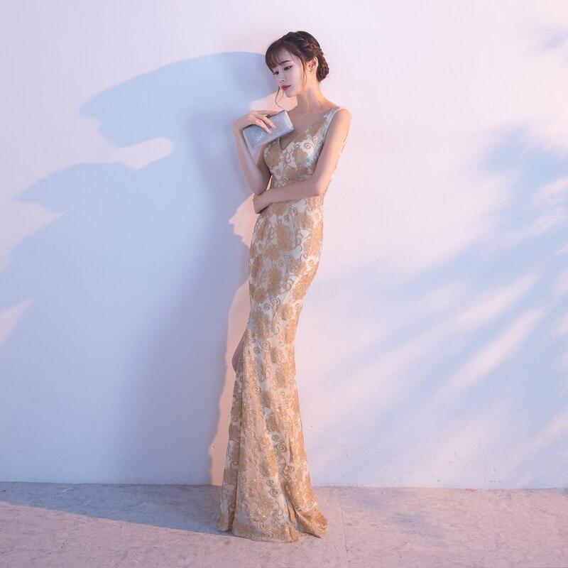 Robes De soirée sirène longues paillettes col bateau Longue Robe formelle 2019 épaule dénudée Elie Saab robes Robe De soirée Longue Femme - 3