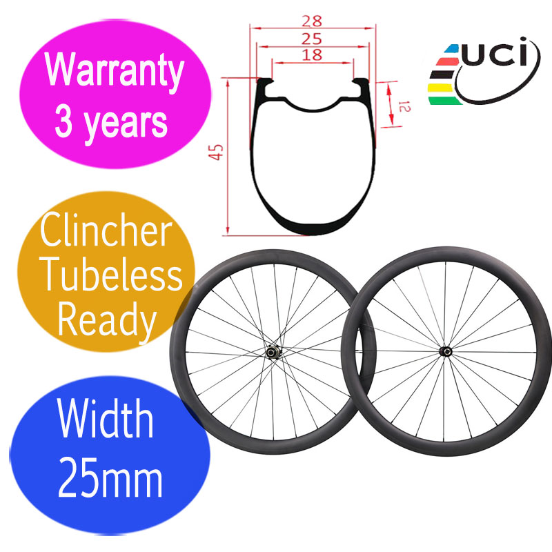 3 years warranty width 25mm carbon road bicycle wheels ceramic DT 350S hub customized logo 45mm