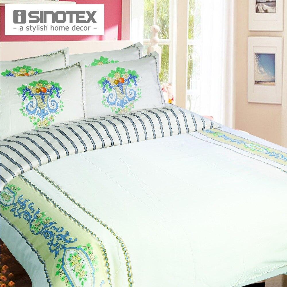 Striped Bedding Sets Duvet Cover+Pillowcase Flowers Printed Button Closure Plain Floral Print Vintage Queen 3pcs/set 100% Cotton