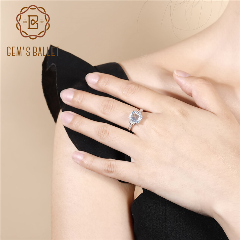 Gem s Ballet Classic Natural Sky Blue Topaz Rings Cut Solid 925 Sterling Silver Ring Best