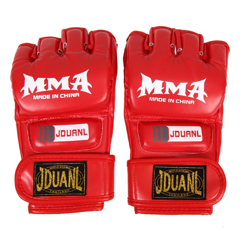 Kick Boxing Gloves PU Leather Half Finger Fight MMA Glove Muay Thai Boxing Training Fitness Boxer Fight Equipment for Adult 4
