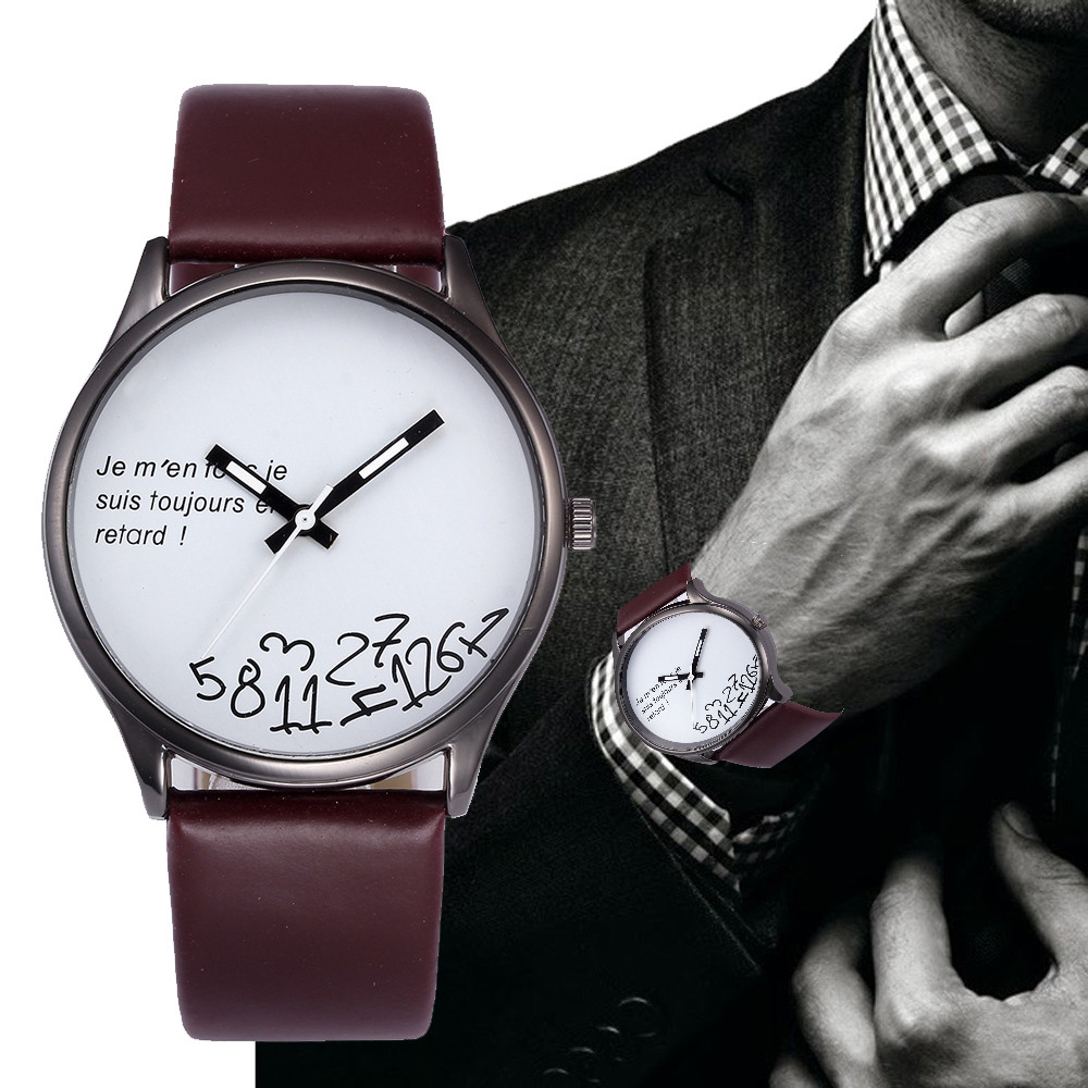 men watches 2019 new arrival top brand luxury Fashion Design Leather Band Analog Alloy Quartz Wrist Innrech Market.com