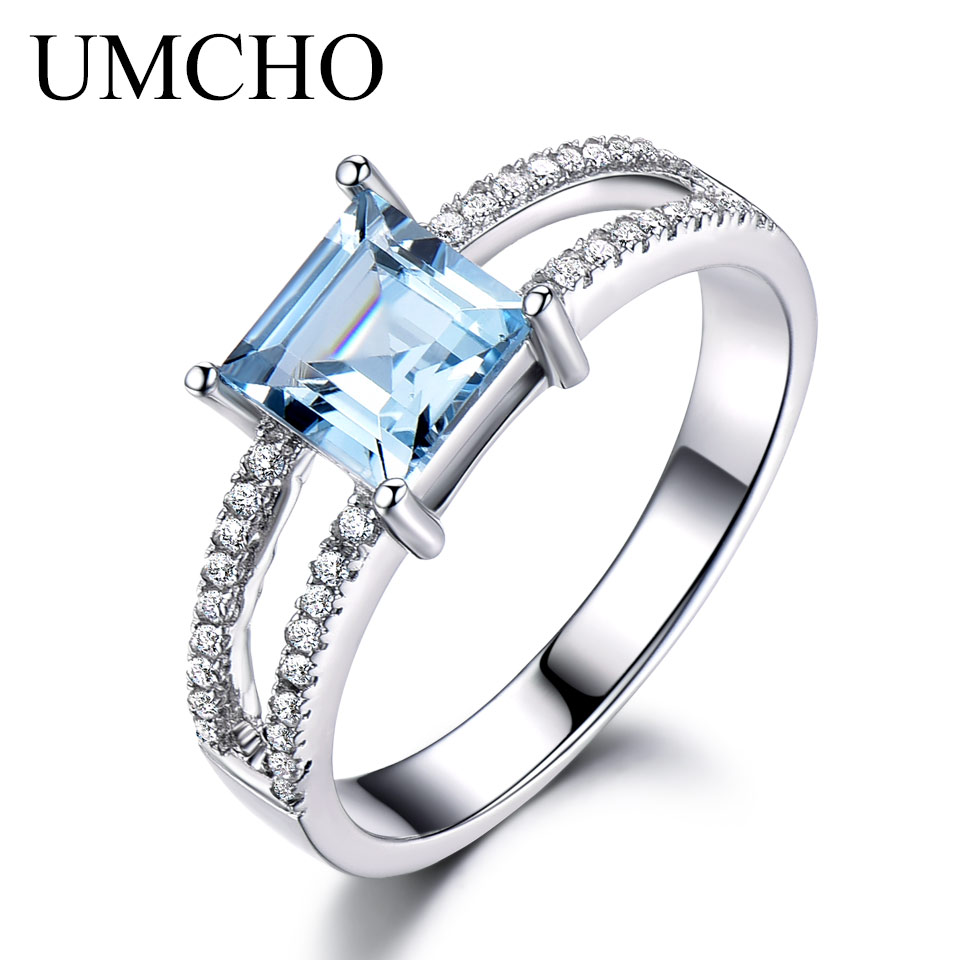 UMCHO Sky Blue Topaz Rings For Women 925 Sterling Silver Wedding Band Anniversary Dainty Ring Square Cut Gemstone Fine Jewelry
