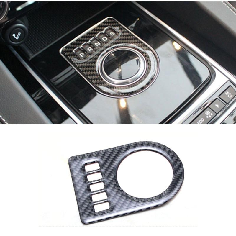 1pcs Carbon fibre Decorative Car Shift Gear Panel Trim Gear Frame Cover Sticker Fit For Jaguar XF XE F-PACE 2016 100% carbon fiber car auto remote keyless entry key case cover fob holder shell for jaguar xe xf xj xjl xk f type f pace