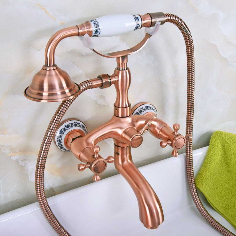 Antique Red Copper Brass Wall Mounted Bathroom Clawfoot Tub Faucet Mixer Tap Telephone Shower Head Dual Cross Handles ana325Antique Red Copper Brass Wall Mounted Bathroom Clawfoot Tub Faucet Mixer Tap Telephone Shower Head Dual Cross Handles ana325