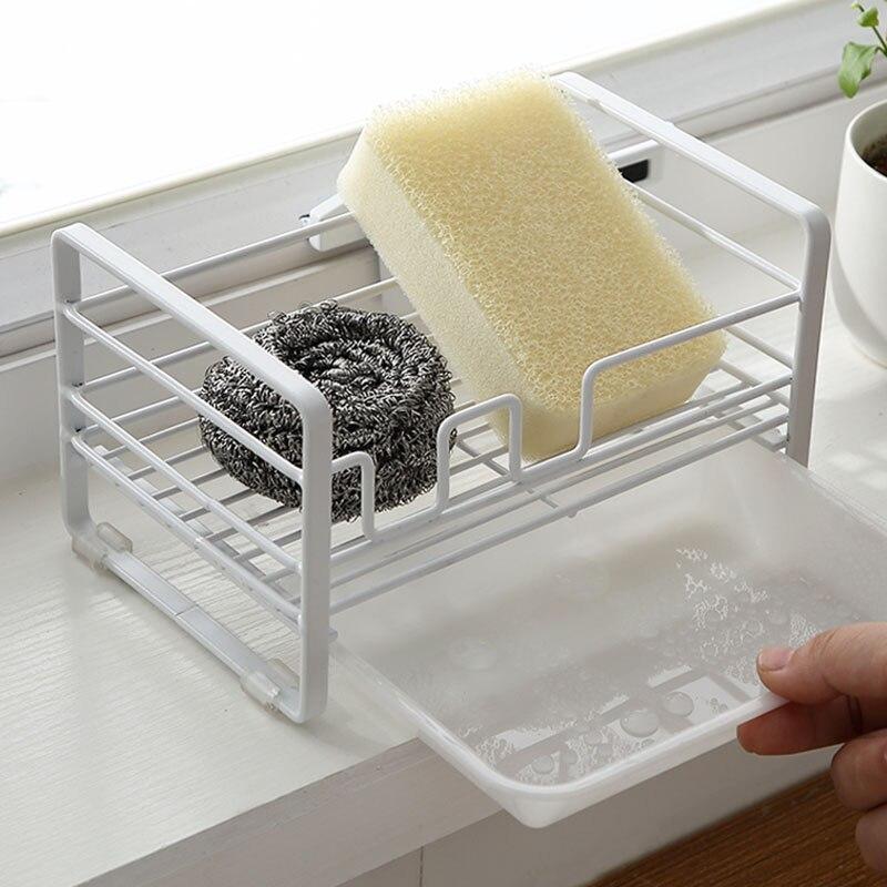 Drainer Rack Sponge Holder Sundries Storage Basket With Tray Kitchen Dish Draining Stainless Steel Organizer Bathroom Sink Tools in Racks Holders from Home Garden