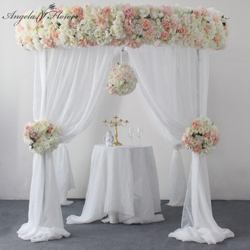 Luxury 2m wedding backdrop decor flower arrangement party artificial 30cm corner flower row 40cm table centerpiece