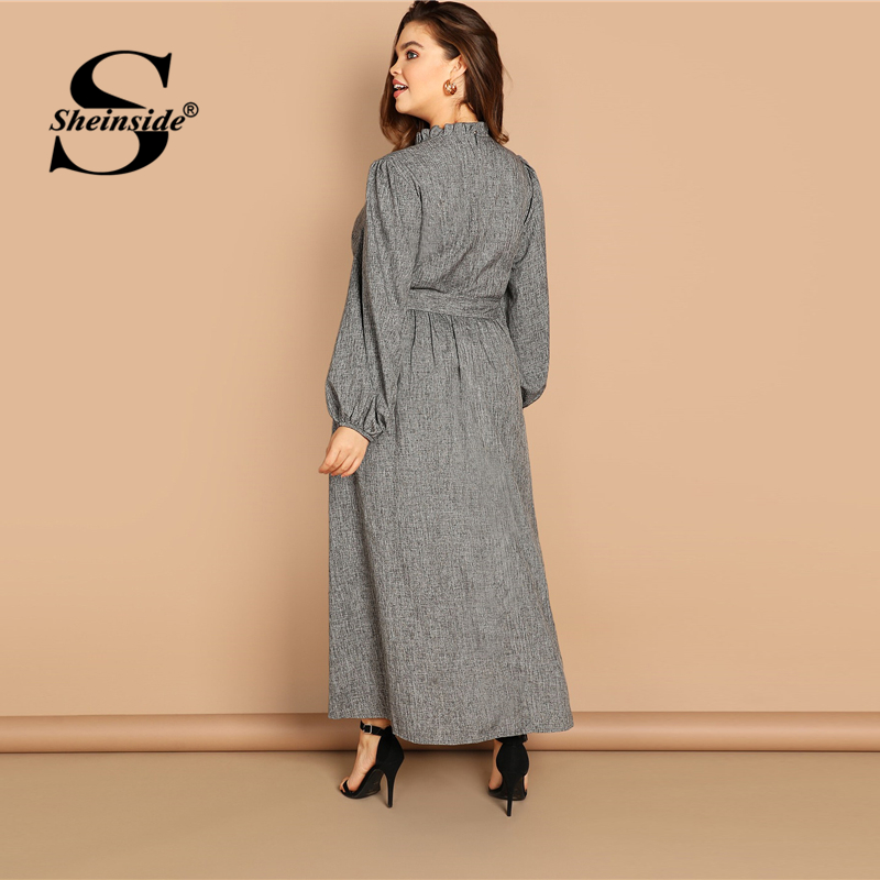 Image 2 - Sheinside Plus Size Casual Grey Ruffle Detail Dress Women Button Belted Shift Dresses Spring Elegant Stand Collar Maxi Dress-in Dresses from Women's Clothing