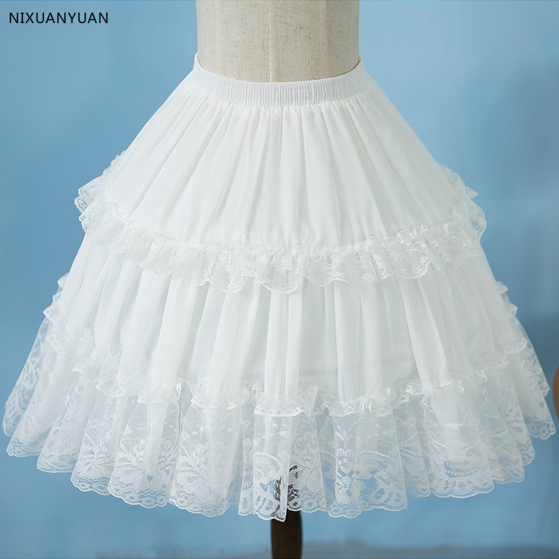 NIXUANYUAN Lolita Chiffon Lace Cosplay Petticoat Underskirt Short Women Black Petticoat Wedding Accessories 2020