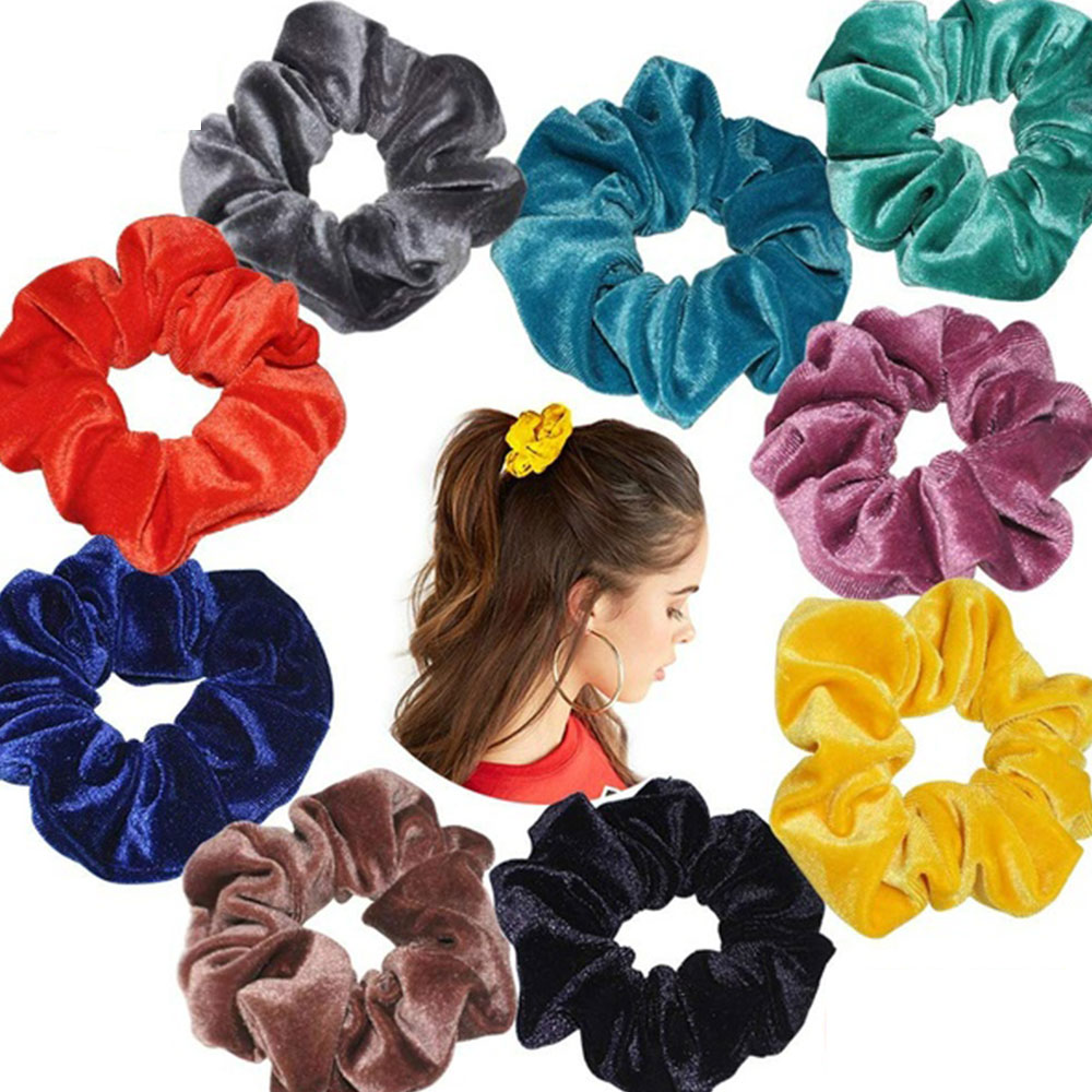 10Pcs Mixed Color Lady   Headwear   Hair Scrunchies Ring Elastic Hair Bands Bobble Sports Dance Velvet Sof Scrunchie Hairband