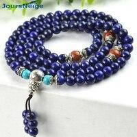 Natural Stone Bracelets Green Gold Stone Lapis Lazuli 6mm Beads 108 Buddha Beads Women Men Crystal