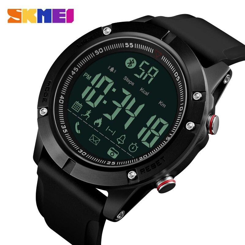 все цены на SKMEI Sports Bluetooth Digital Wristwatches Fashion Smart Watch Men Pedometer Calorie Remote Camera LED Military Watches Relogio онлайн