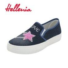 Hellenia 2018 font b Women b font Casual Shoes Canvas New Denim Fashion Flats Size 36
