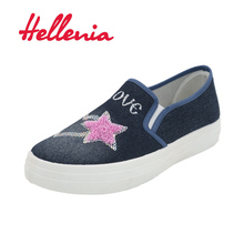 Hellenia 2018 Women Casual Shoes Canvas New Denim  Fashion Flats Size 36-40 new arrival fashion women sneakers