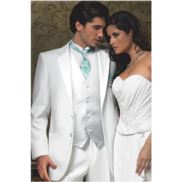 Envío Gratis Diseño Personalizado Slim Fit Dos Botones Blanco Muesca Solapa Traje de novio Esmoquin Hombres Traje de 3 Unidades De Juego de la Boda Caliente venta
