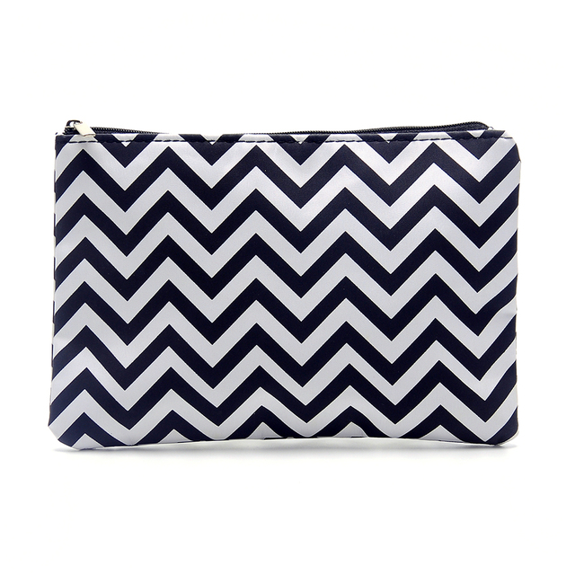 aea5760afaff Zigzag Pencil Case Wholsesale Blanks Flat Chevron Makeup Bag Women  Accessories Bag in 3 Colors Free shipping DOM106096