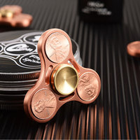 High Quality Fidget Tri Spinner Copper Coins Hand Spinner Fidget Toy Rotation 7 Minutes Fidget Spinners