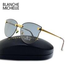 بدون شفة عين القط النظارات الشمسية النساء الاستقطاب UV400 مصمم نظارات شمسية امرأة مرآة مكبرة خمر 2020 gafas دي سول مع صندوق