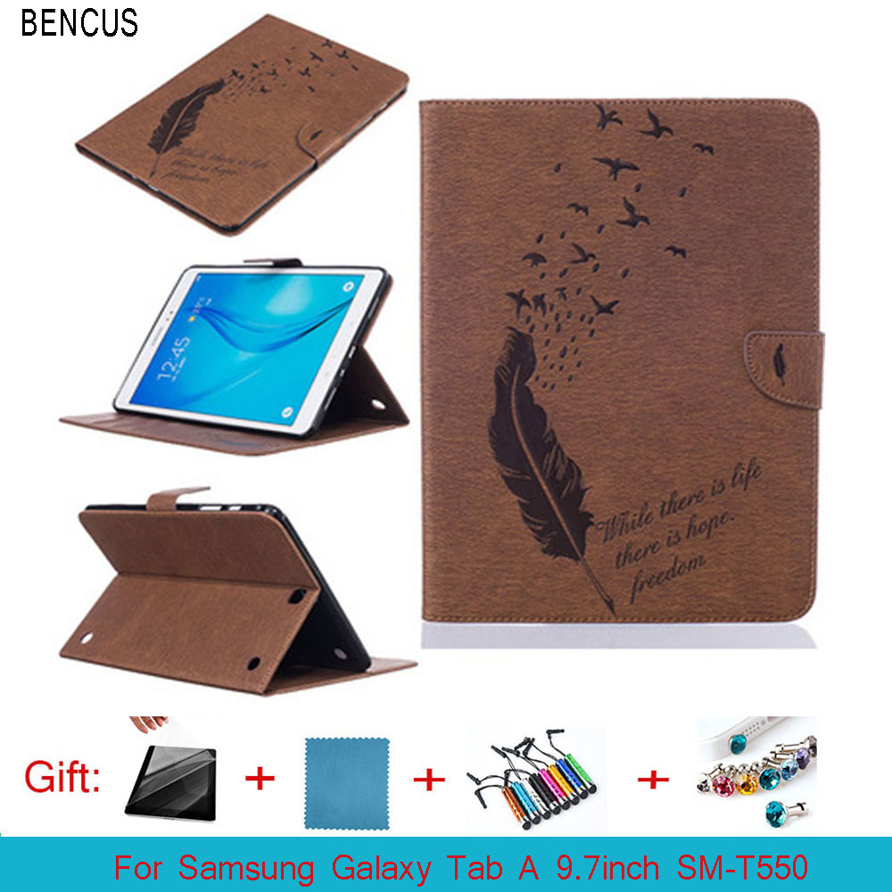 BENCUS Samsung Galaxy Tab A 9.7 inch SM-T550 SM-T555 T550 T555C Case Folding Flip PU Leather Cover With TPU Shell Stand Case